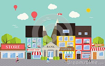 Town Street Life Stock Illustrations.