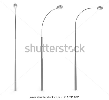 Set Of Modern Street Lamp Isolated On White Background