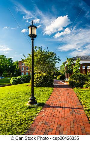 Stock Photos of Streetlight along a brick walkway at John Hopkins.