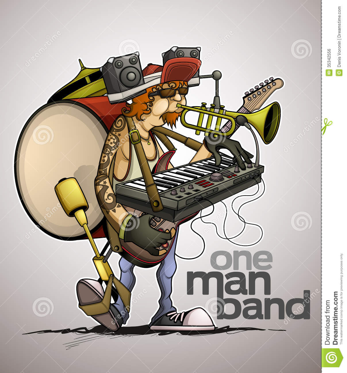 Modern One Man Band Royalty Free Stock Image.