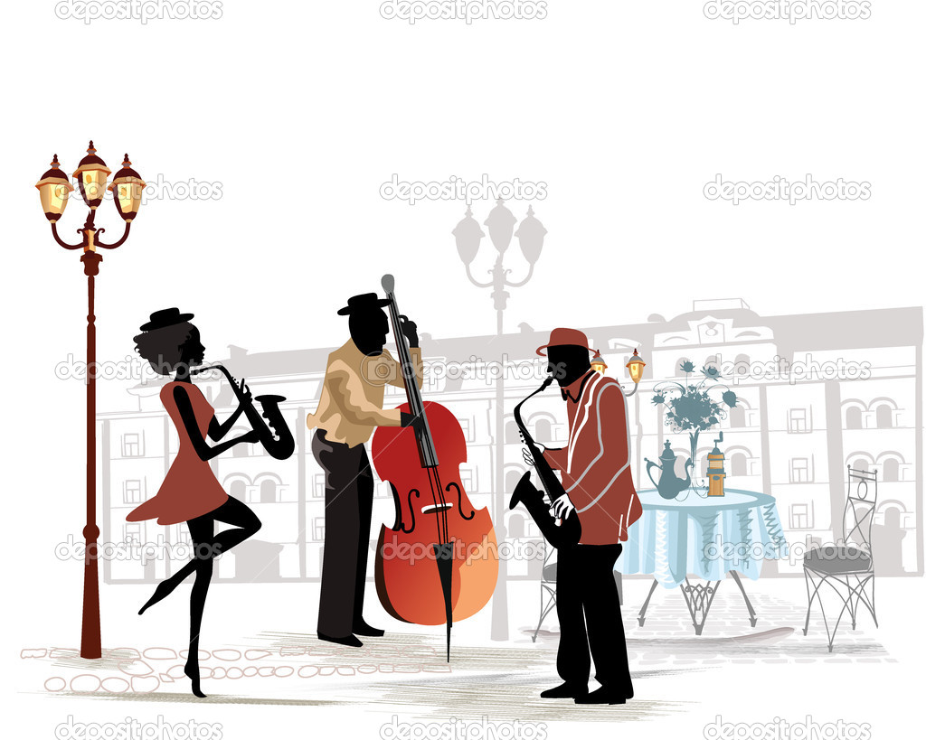 Street musicians with a saxophone and contrabass on the background.