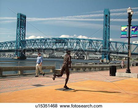 Pictures of Jacksonville, FL, Florida, River Runner statue along.