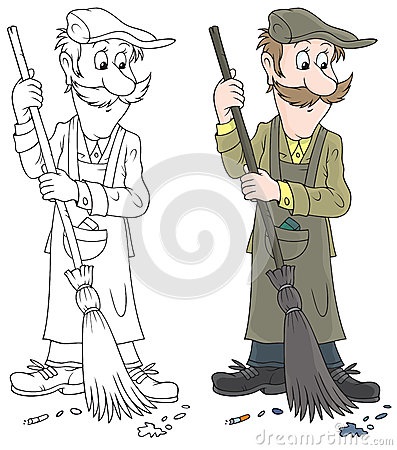 Indian Street Sweeper Stock Illustrations.