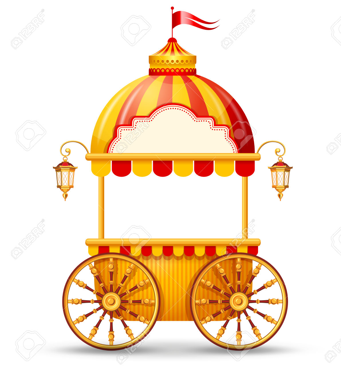 Brightly Colored Cart Stall For Fast Food Street Trading. Vector.