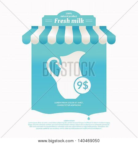 Illustration of a stall for street trading dairy products.