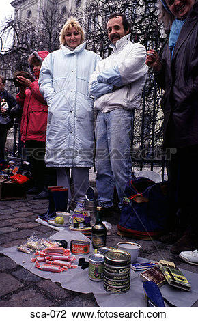 Stock Photo of Russian Black Market Street Trading Helsinki.