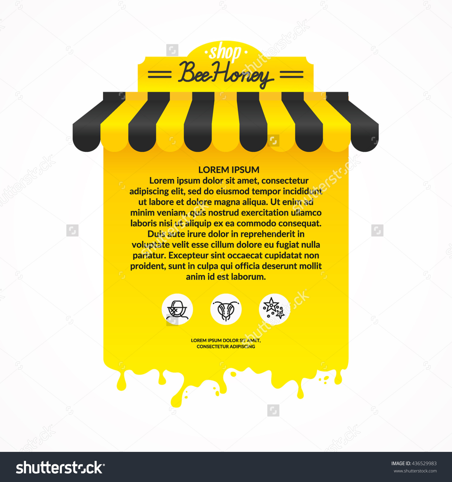 Illustration Stall Street Trading Products Beekeeping Stock Vector.
