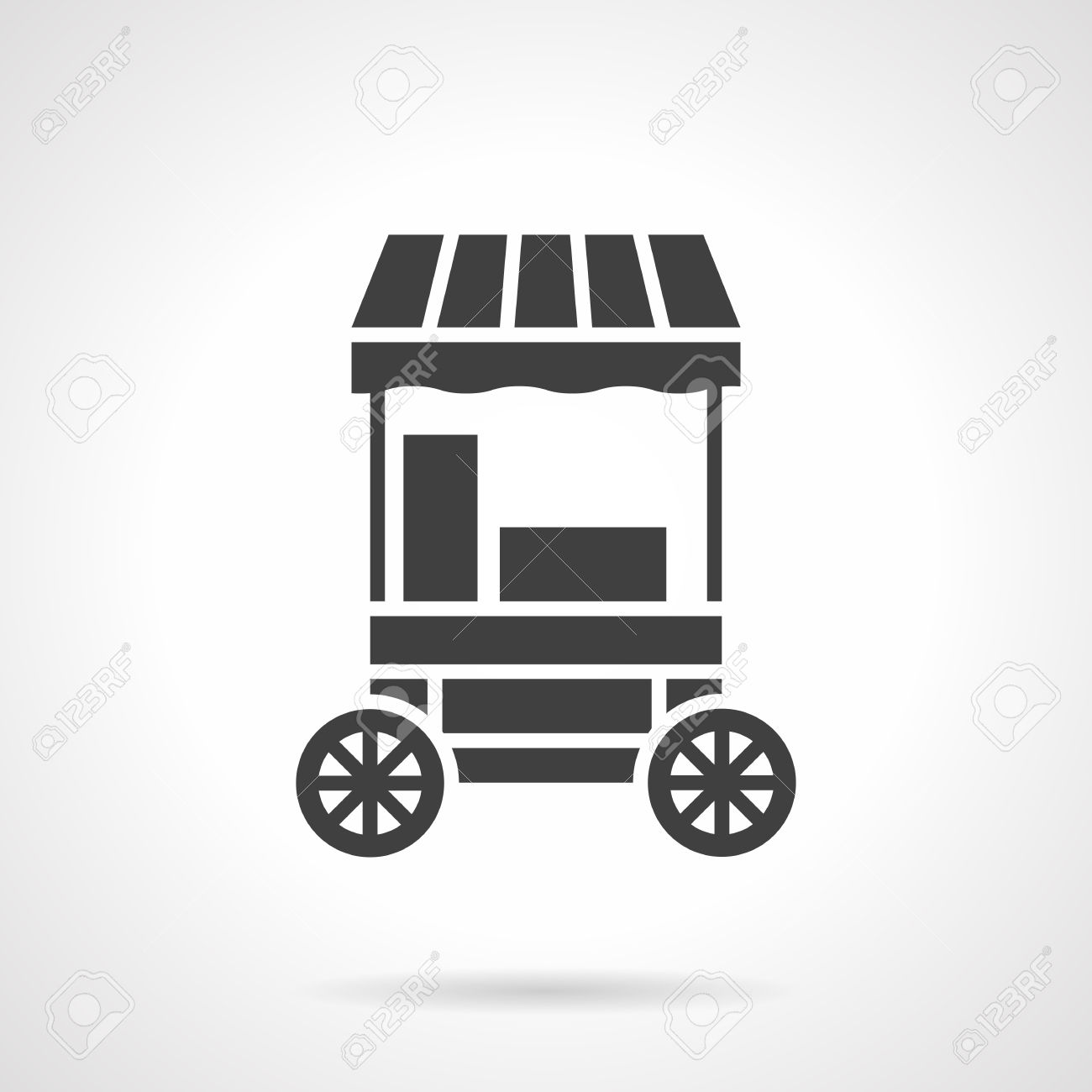 Striped Trading Cart For Selling Cotton Candy. Street Trade In.