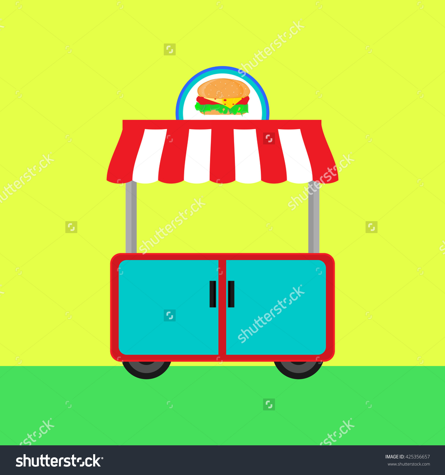 Stall With A Sign. Fast Food Street Trading Concept. Vector.