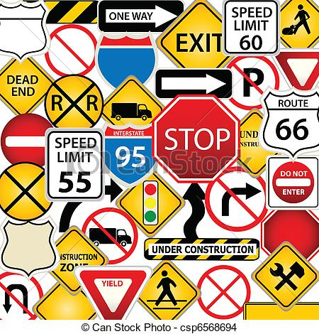 Clip art traffic signs.