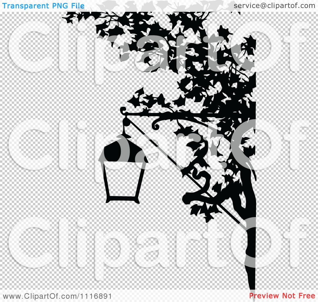 Clipart Of A Retro Vintage Black And White Street Lamp And Tree.