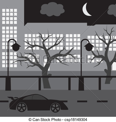 Vector Clipart of night street with car, tree and buildings eps10.