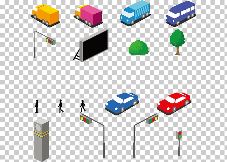 Car Icon, City vehicles and street trees PNG clipart.