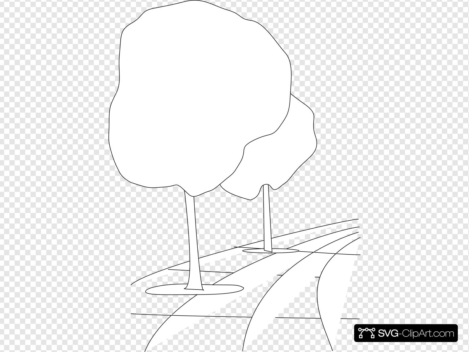 Pavement Street Trees Outline 3d Clip art, Icon and SVG.