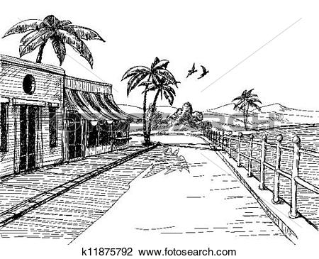 Clipart of Small and quiet city at sea shore, street view sketch.