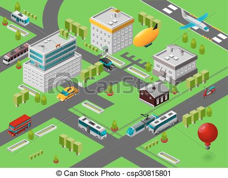 Vector Clipart of Isometric City Street.