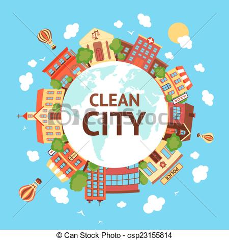 Vector Clip Art of Clean city scape background.