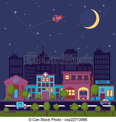 Vector of City scape night background.