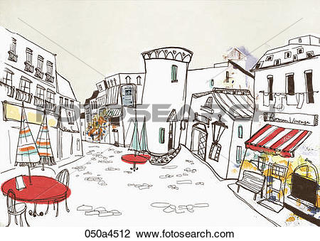 Clip Art of drawing of street scape 050a4512.