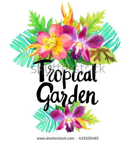 Illustration With Watercolor Tropical Flowers. Summer Paradise.