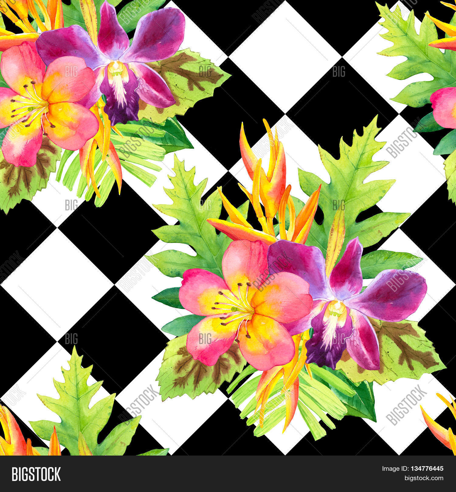 Beautiful bouquet on black and white background with geometric.