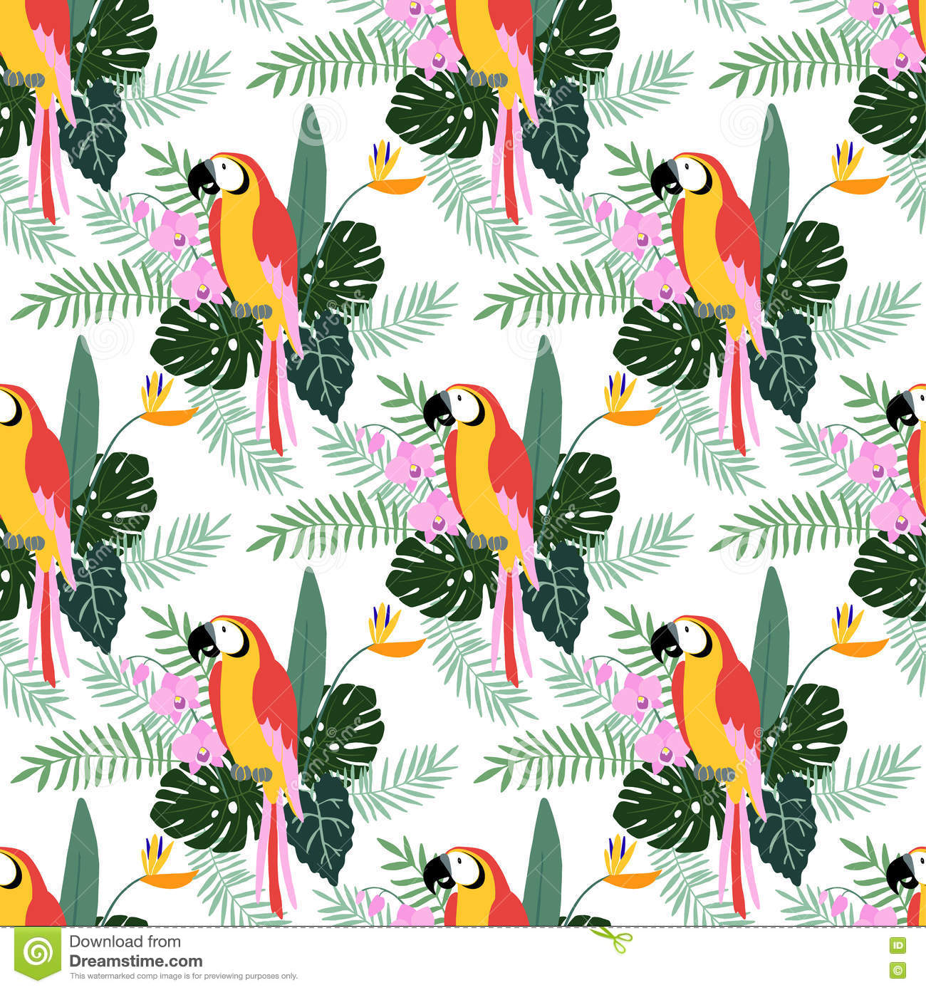 Tropical Jungle Seamless Pattern With Parrot Bird, Orchid And.