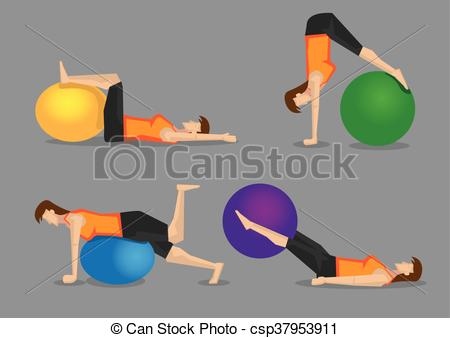 Vector Clip Art of Core Strengthening Workout with Gym Ball.