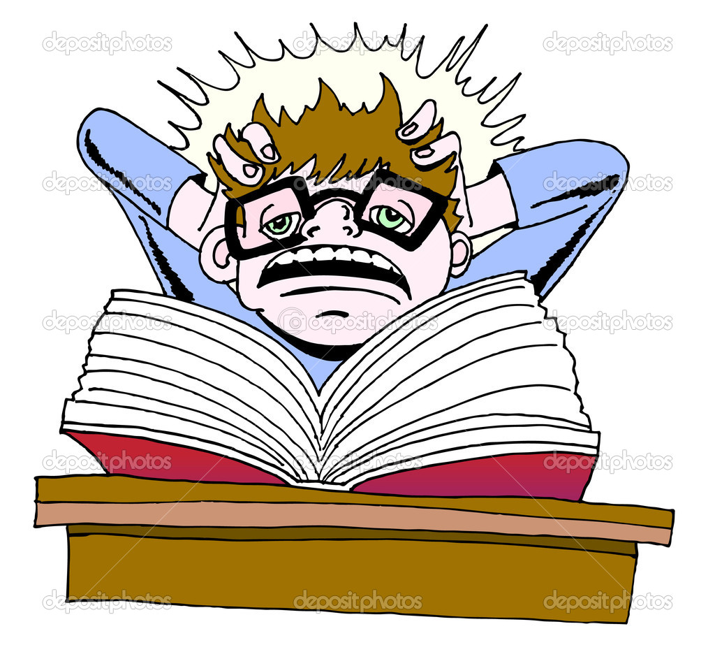 Stressed College Student Clipart.