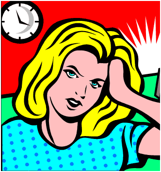 stressed woman clipart.