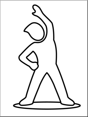 Clip Art: Simple Exercise: Bend and Stretch B&W I abcteach.