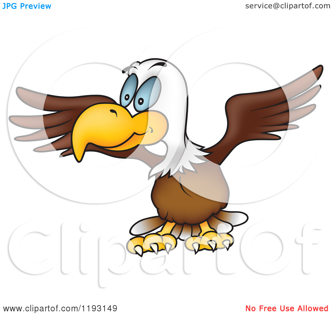 Cartoon of a Bald Eagle Stretching His Wings.
