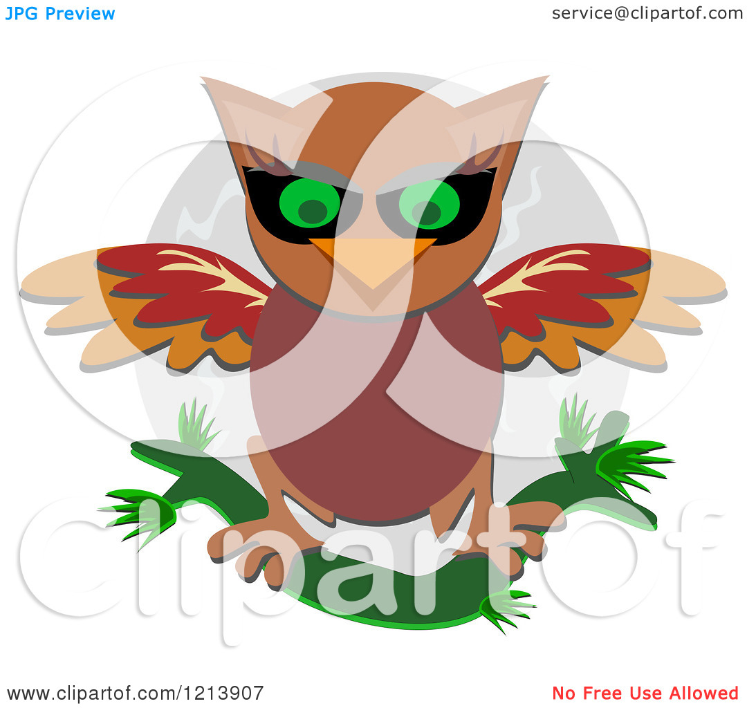 Cartoon of a Brown Owl Stretching His Wings over a Full Moon.