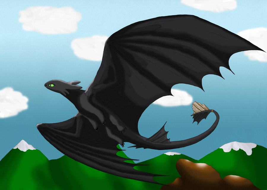 toothless stretching his wings by Mmoto53 on DeviantArt.