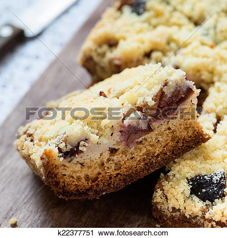 Stock Photography of Fruit cake with streusel k22377751.