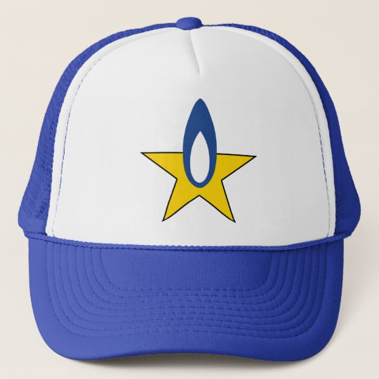 Strickland Propane Blue Flame Yellow Star Logo Trucker Hat.