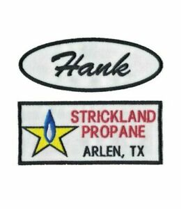 Hank Hill Strickland Propane Embroidered Iron on Patch Set.