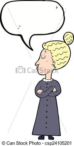 Vector Clipart of cartoon strict victorian teacher with speech.