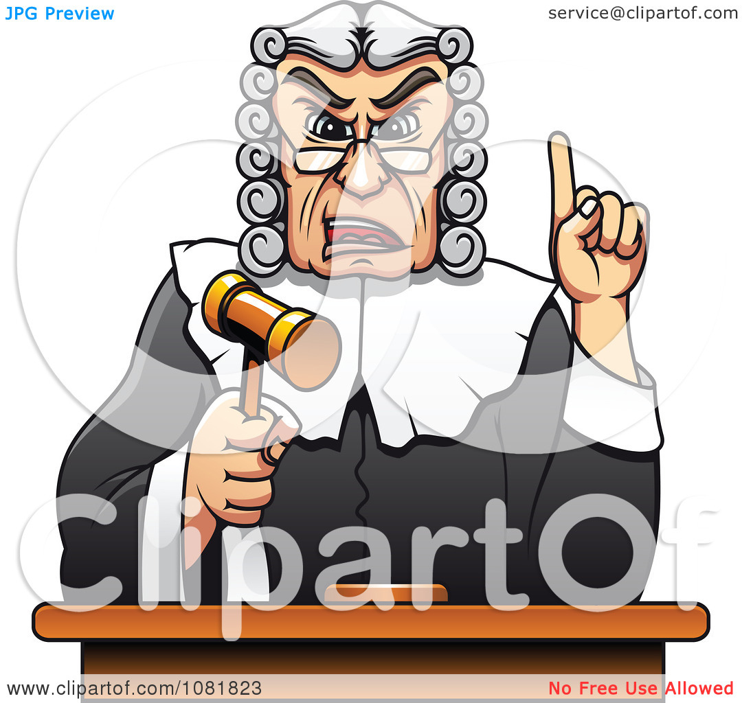 Clipart Strict Judge Holding Up A Gavel And Finger.