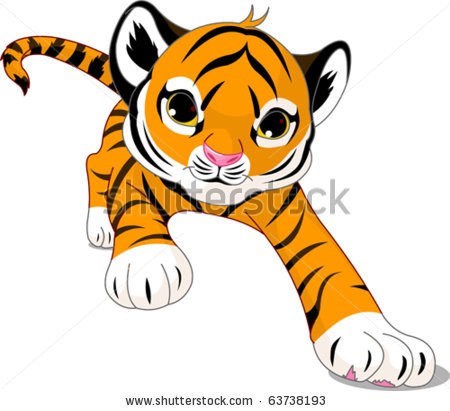 of a tiger cub walking with long strides in a vector clip art.