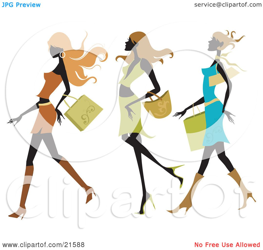 Clipart Illustration of Three Silhouetted Long Haired Women.
