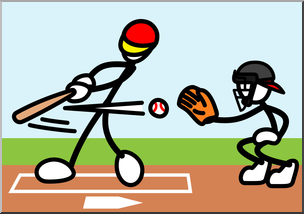 Clip Art: Stick Guy Baseball Strike Color I abcteach.com.