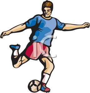 Kicking Soccer Ball Clip Art.