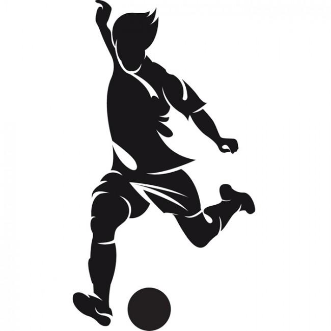 Football Striker Player Ball Match Football Wall Sticker Sports.