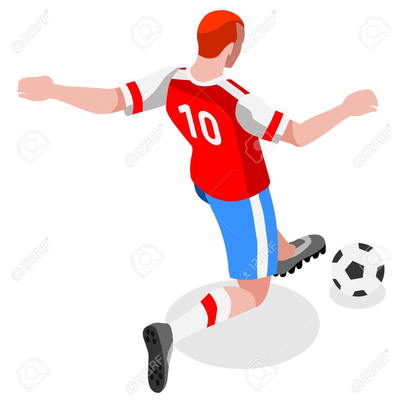Soccer Striker Player Athlete Sports Icon Set.3D Isometric Field.