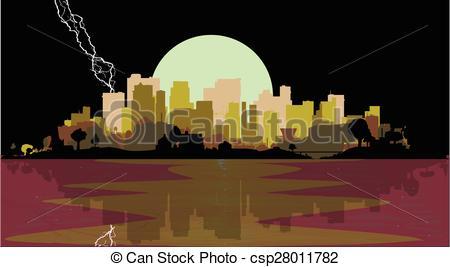 Vector of Lightning Strike City.