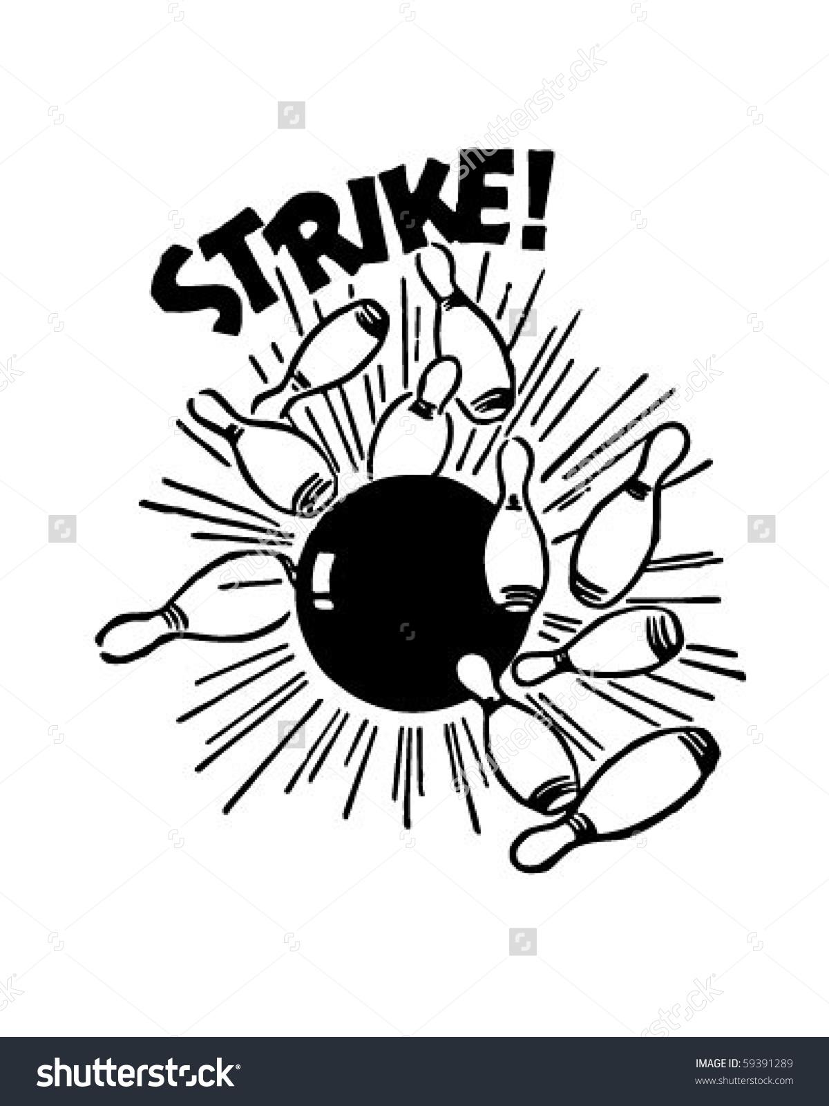 Strike Bowling Ball Pins Retro Clip Stock Vector 59391289.
