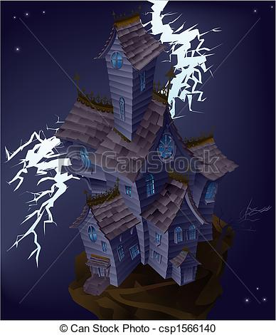 Vector Clipart of Illustration of haunted house with lightning.