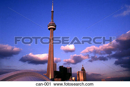 Stock Photography of Sunlight Striking CN Tower Toronto Canada can.