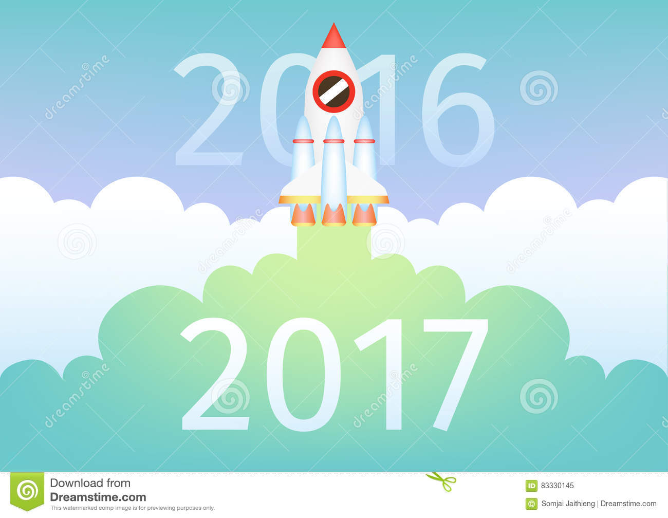 Start Up Rocket Fly And Bring New Year 2017 Strike Through 2016.