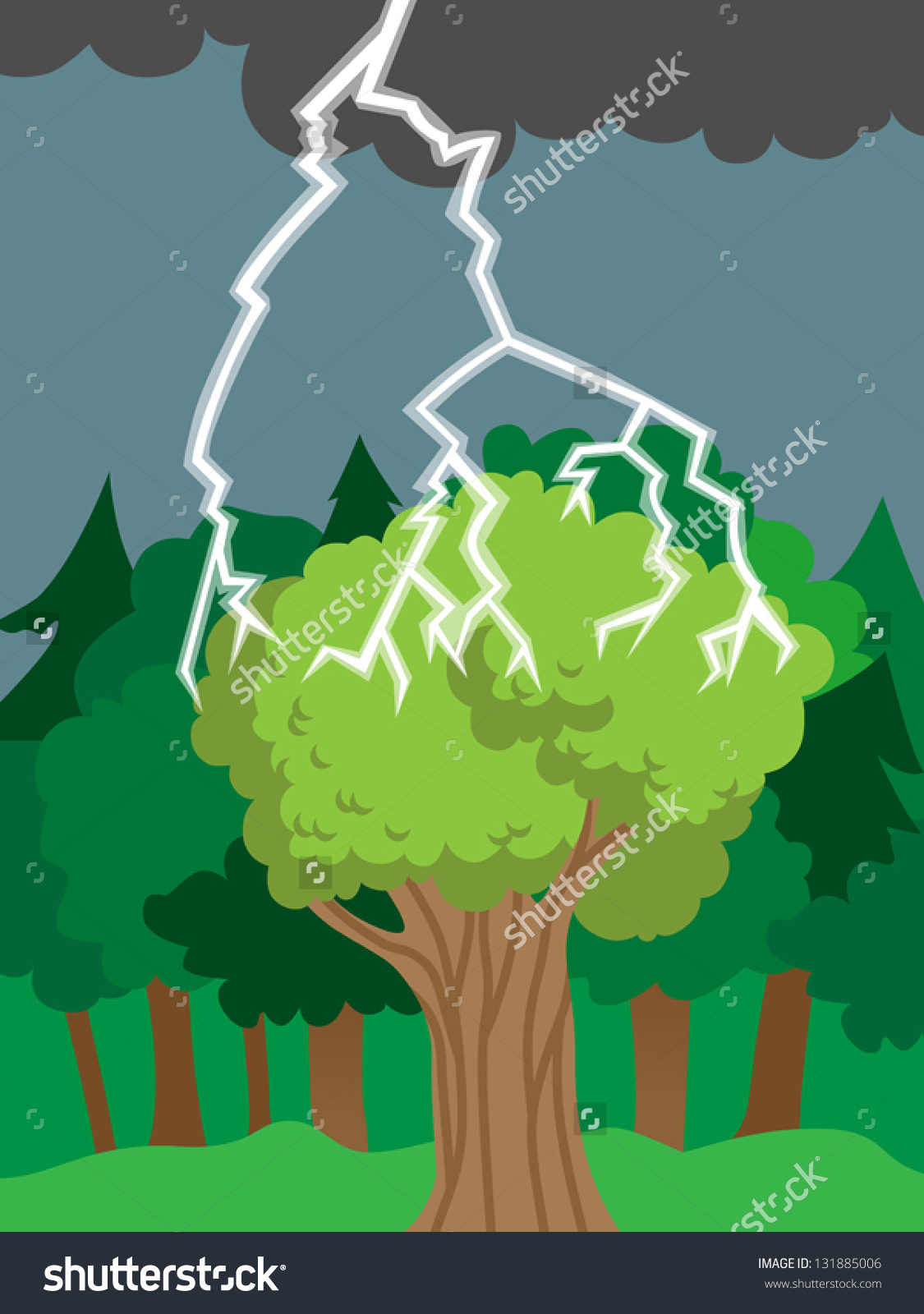 Thunder Bolt Lightning Hits Tree Forest Stock Vector 131885006.